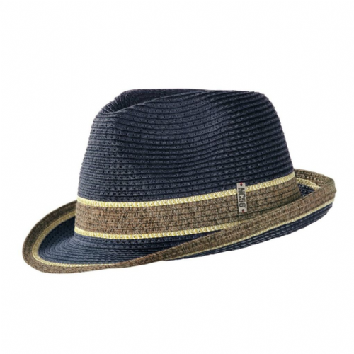 Wegener Navy Straw Trilby with Brown Band